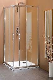 Petite cabine de douche avec porte coulissante d'angle